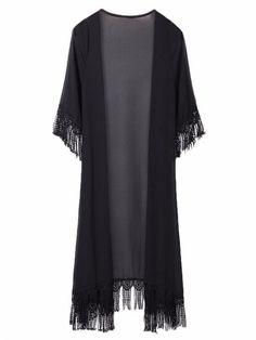 Women Short Sleeve Tassel Chiffon Loose Cardigan - Gchoic.com