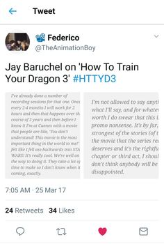 Jay Baruchel's thoughts for HTTYD3!!! I have mixed feelings about this coming third movie. I'm of course VERY excited for this incredible franchise for making a final movie but the story plot is kinda sad :'((