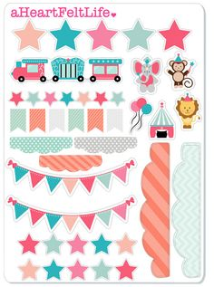 Circus Sticker Set for your Planner scrapbook by aHeartFeltLife
