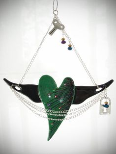 Winged Heart Fused Glass Suncatcher Home by CoalescentAlchemy, $110.00