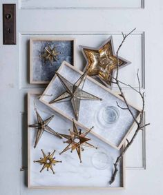 Our Golden Star Mercury Glass Hanging Ornaments are perfect year-round home accent for dreamers and achievers. With its gold-colored edges and antiqued mercury glass finish, these Golden Star ornaments bring a touch of shine to your holiday mantle or tree.  These ornaments are sold individually and are available in two sizes: small and large. $38.00-$64.00