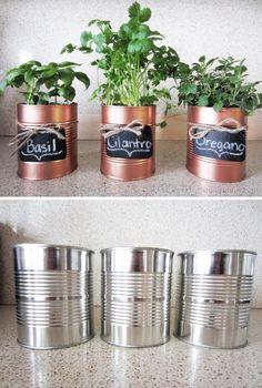 Tin cans spray paint