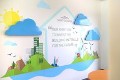 Values Wall Graphic on the wall with 3D elements for amazing office design.