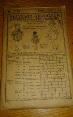 ANTIQUE 1919 BELROBE METHOD SEWING PATTERN 3876 CHILD'S COAT AND BONNET  RARE!