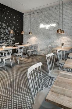 """C'est dans un café, restaurant """"Twenty 7""""  que je vous invite aujourd'hui ... avec au menu briques en blanc ou en noir. C'est un duo de des... #restaurantdesign"""