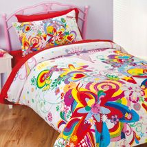This stunning quilt cover set showcases a kaleidoscope of gorgeous colour and a dramatic mixture of art forms as it depicts a contemporary look at the season of Spring. Heavily detailed flowers and butterflies are given a modern twist as they compete for attention with bright hearts and rainbows. Full of movement and colour, this design will certainly appeal to the teenage girl.