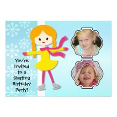 Having a birthday skating party? You'll love these cute and colorful winter skating theme Redhead Girl Birthday Skating Party invitations that you can easily add photos and your birthday party specifics to! Features a red haired ice skating girl on a soft blue background with white snowflakes! #skating #skater #photos #skates #winter #birthday #customized #parties #kids #girls #custom #peacockcards #personalized #childrens