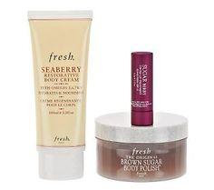 Beauty treats!  Fresh Brown Sugar Body Polish, Seaberry Restorative Body Cream and Sugar Berry Tinted Lip Treatment #beautywithbenefits