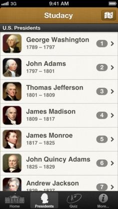 Studacy - U.S. Presidents ($0.99) - Study and get detailed information about the 44 U.S. Presidents, read fun facts, inaugural speeches, famous quotes and biographies.  - Play quiz games and score more than 50% to earn up to 8 achievements on Game Center, and become Vice President or even President of the United States!  - Make it to the top of the leaderboards, share your achievements on Facebook & Twitter and challenge your friends on Game Center.