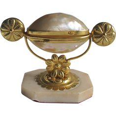 Ormolu MOP Mother of Pearl Palais Royale Gilt Metal Treasure Holder from greens on Ruby Lane