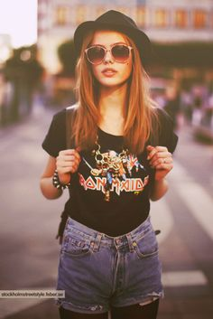 Iron Maiden - so (rocker) chic with the hat and sunglasses!