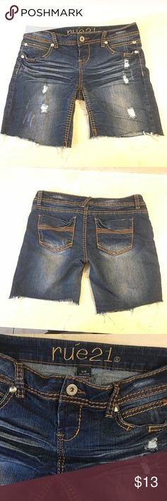 Rue 21 Distressed Jean Shorts Longer than you typical shorts , but still fun for summer Rue 21 Shorts Jean Shorts