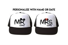 7453f29c80a88e Personalized Mr and Mrs Disney Trucker hats - engagement gift -  Personalized Mickey and Minnie cap - Mickeymouse ears - disneyworld couples