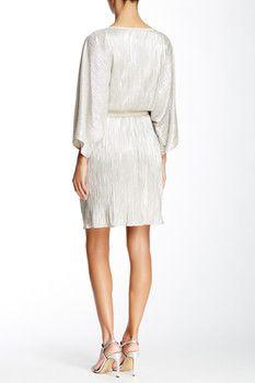 AGB Pleated Metallic Dolman Sleeve Dress