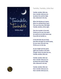"""Twinkle, Twinkle, Little Star"" is a popular English lullaby. The lyrics are from an early 19th-century English poem, ""The Star"" by Jane Taylor (1783-1824).   (The poem was first published in 1806 in Rhymes for the Nursery, a collection of poems by Jane and her sister Ann, who wrote the poem ""My Mother."""