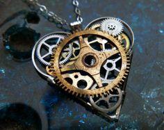 Steampunk Heart Necklace Ellis Elegant by amechanicalmind on Etsy