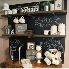 I am so excited to introduce you to my friend, Julie @myfarmhousegrounds ! So much talent...just look at her chalkboard, open shelved, amazing, coffee bar!! Julie has such a beautiful touch and I love that I can call her my friend. Go and tell her Hi!! Happy Friday, friends! #followfriday #myfavpicfriday #onetofollow