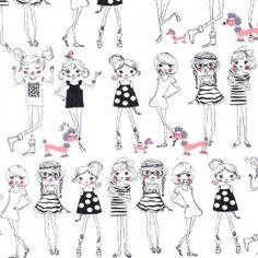 Tissu Jersey Girls - blanc x 48 cm