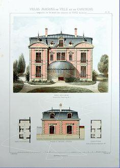 Antique Architectural Print  Architecture 1864 by RarePostCards