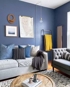 Our new violet-blue paint color, Blue'd up, is perfect for painting your living room. Here, Sandy of @elleehome shows us how to accent the color with complementary hues like yellow and gray. Living Room Yellow Accents, Grey Living Room With Color, Blue Accent Walls, Accent Walls In Living Room, Eclectic Living Room, Boho Living Room, Living Room Colors, Living Room Designs, Living Room Decor
