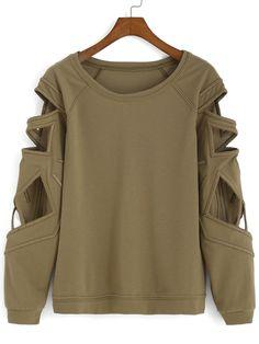 camiseta cuello barco hueco-verde 14.49
