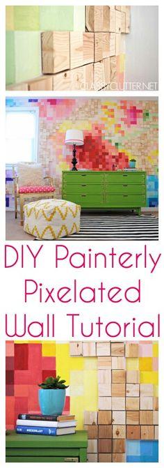DIY PAINTERLY PIXELATED WALL TUTORIAL #pixelart #design #wallcoverings #decoration #home http://www.classyclutter.net/2014/05/pixelated-wall-tutorial.html