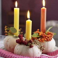 Mini white pumpkin tapered candle holders