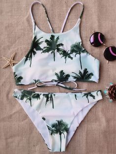 $18.49 Coconut Palm High Neck Bikini - COLORMIX M