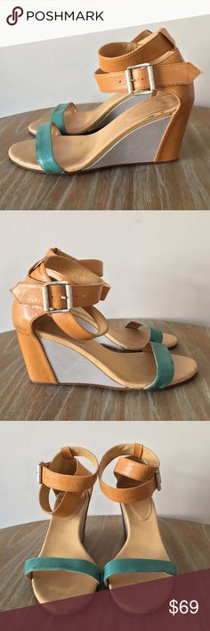"""Maison Martin Margiela Ankle Wrap Wedges Gorgeous leather wedges from designer Maison Martin Margiela. Featuring a double ankle wrap with silver tone hardware. Colors are tan, turquoise, and a light gray. Made in Italy. These looks amazing on, and are very comfortable to walk in. Good used condition, with some scuffs and minor marks. Heel height: 3"""" Maison Martin Margiela Shoes Wedges"""