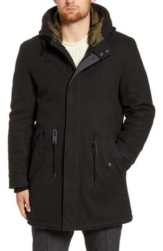 Free shipping and returns on Cole Haan Windproof Water Resistant Parka at Nordstrom.com. Conquer the elements in compliment-worthy style with this parka featuring an adjustable-fit waist, insulating inset cuffs and a luxe lined hood. Hooded Parka, Hooded Jacket, Black Parka Jacket, Timberland Style, Timberland Fashion, Fashionable Snow Boots, Sweater Coats, Winter Dresses, Winter Coat