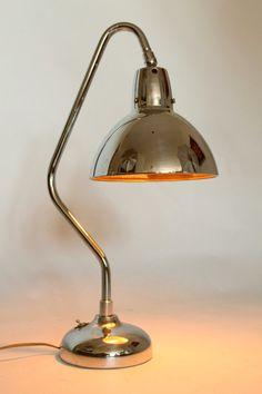 RARE 1940 APOLLO ELECTRIC Co. table lamp nickel plated mid century era
