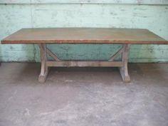bleached oak metal top table