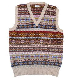 Drakes sleeveless Shetland Fairisle pullover  make by Jameison's