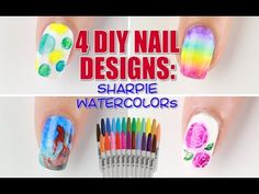 4 Ways to DIY Sharpie Watercolor Nail Art! - YouTube