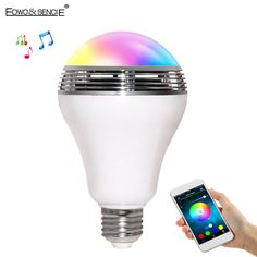 EDWO 2 In 1 Smart LED Bulb Light Wireless Bluetooth Speaker Music Colorful Dimmable E27 Lamp Audio Speaker For iPhone 7 Xiaomi