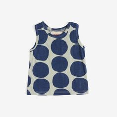 Big bold blue dots on pistachio green organic cotton jersey. Generous fit, gender-neutral - the perfect summer tank! Also see Dotto print on Sundress, Sunhat and Skirt. - Materials: 100% organic cotto