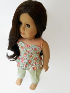 American Girl Doll Clothes - Cotton Floral Print Strapless Peplum Top