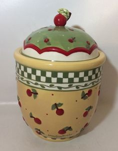 Mary Engelbreit Yellow Cherries Cookie Jar Canister Signed Enesco 1998