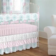 Pink and Aqua Moroccan Damask Crib Bedding by Carousel Designs.  How sweet it is! This adorable Pink and Aqua Moroccan Damask collection has all of your favorite prints. Featuring feminine shades of pink and aqua with a modern twist. The layers of ruffles bring that extra touch of whimsy to your nursery.