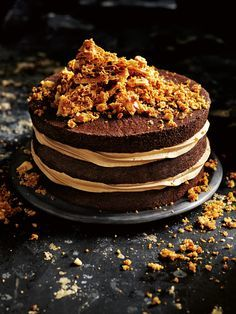 Salted Caramel Honeycomb Crunch Cake - Filled with luscious layers of salted caramel buttercream and topped with crunchy honeycomb, it& the perfect cake for any celebration. Just Desserts, Delicious Desserts, Dessert Recipes, Homemade Desserts, Cupcakes, Cupcake Cakes, Salted Caramel Chocolate Cake, Salted Caramels, Chocolate Meringue