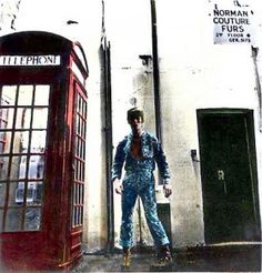 Bowie next to red phone box, Heddon Street, W1