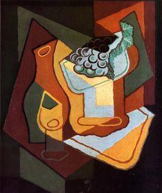 Bottle Wine Glass and Fruit Bowl 1921   Juan Gris   Oil Painting #cubism