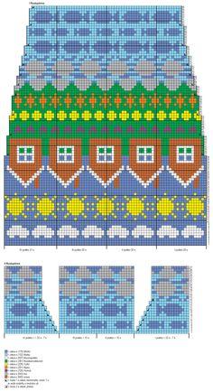 Fair Isle Knitting Patterns, Knitting Charts, Weaving Patterns, Knit Mittens, Knitting Socks, Fair Isle Chart, Tiny Cross Stitch, Patterned Socks, Knit Or Crochet
