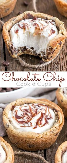 Chocolate Chip Cookie Cups Recipe – CUCINA DE YUNG These chewy Chocolate Chip Cookie Cups are truly one of the easiest desserts you'll ever make. Filled with Vanilla Cream Cheese Mousse and a swirl of chocolate sauce. Mini Desserts, Brownie Desserts, Oreo Dessert, Easy Desserts, Delicious Desserts, Yummy Food, Brownie Cookie Cups, Vanilla Desserts, Dessert Cups
