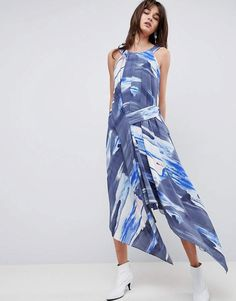 99bc409b549 Asos DESIGN Midi Dress In Abstract Print With Tab Side