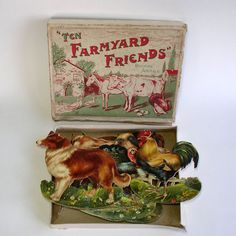 Antique Die Cut Farm Animal Set in Original Box