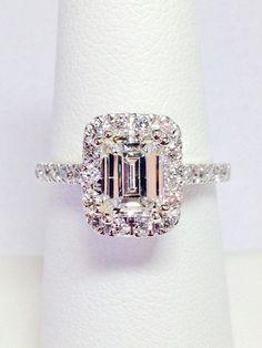 1.00CT Diamond Emerald Cut Halo Engagement Ring Anniversary Band Wedding Bands Rings Diamonds Platinum, 18K, 14K White, Yellow, Rose Gold More #EngagementRings