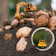 I love this idea for making mini truck tunnels to create a little construction site in your backyard. My three-year-old (Noah) would love this!