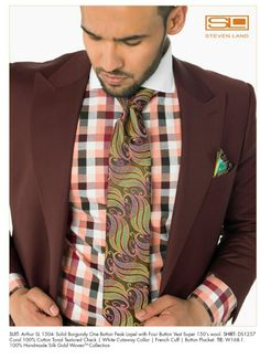 Steven Land Burgundy suit, with match Steven Land shirt and tie.