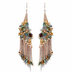 Women Bohemian Fashion Crystal Ball Jewelry Long Cascade Earrings SKU-10803458